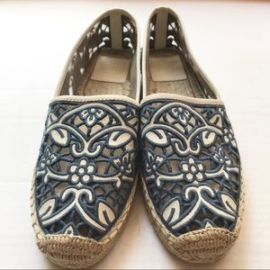 Tory Burch | lace cutout blue and white espadrille